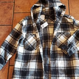 Forever 21 Plaid Long Coat